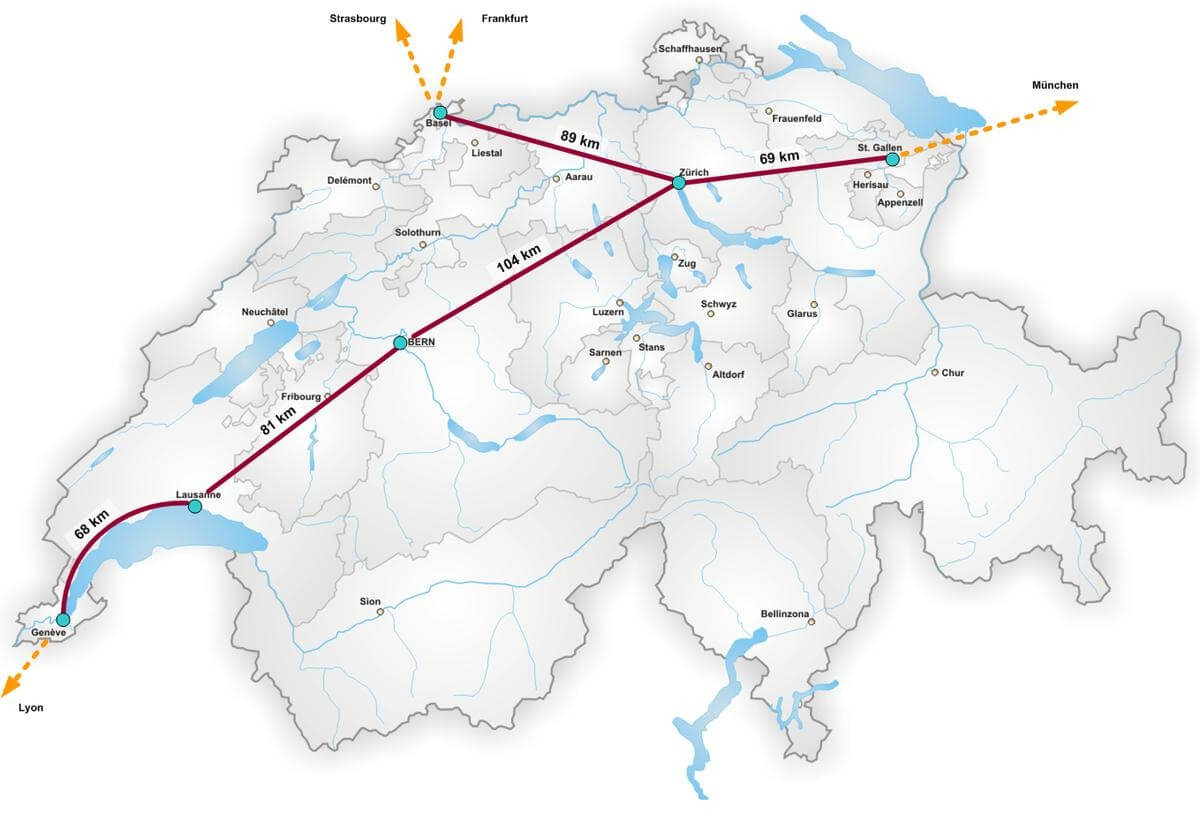 Map of Swissmetro in Switzerland